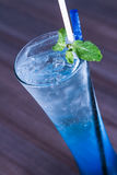 Blue soda. Topped with mint leave Royalty Free Stock Photo