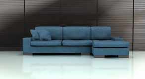 Blue Sofa. Computer rendered blue sofa with white floor and gray toned background Royalty Free Stock Images