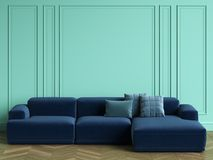 Blue sofa in classic interior with copy space. Turquoise color walls with mouldings. Floor parquet herringbone.Digital Illustration.3d rendering Royalty Free Stock Images