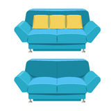 Blue sofa couch vector design. Front view Stock Images