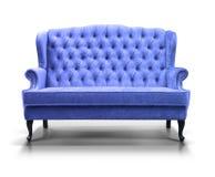 Blue sofa. Isolated on white background Royalty Free Stock Photo