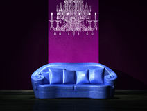 Blue sofa with luxury chandelier Stock Photography
