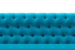 Luxury Blue sofa texture velvet cushion close-up pattern background on white. Blue sofa Luxury velvet cushion close-up pattern background on white royalty free stock photography