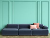 Blue sofa with pink pillows in classic interior with copy space. Turquoise color walls with mouldings. Floor parquet herringbone.Digital Illustration.3d Stock Images