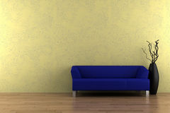 Blue sofa and vase in front of yellow wall Stock Photography