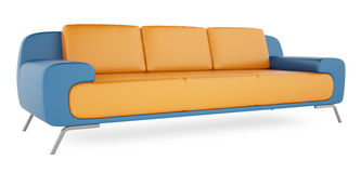 Blue sofa on a white background. High resolution 3D render brown sofa on a white background Royalty Free Stock Images