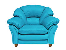 Blue sofa on white background with path stock photography