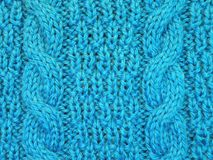 Blue soft knitted surface texture Royalty Free Stock Images