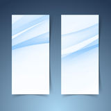 Blue soft line wave vertical banner set Royalty Free Stock Images