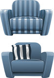 Blue soft stripped armchair Stock Photo