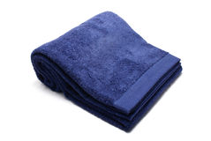 Blue soft terry-cloth. Bath towel stock photo