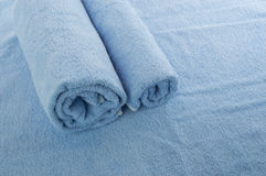 Blue soft towels. Two rolled towels / texture of fabrics Royalty Free Stock Photography