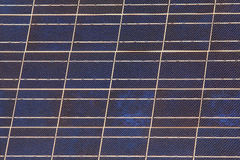Blue solar panel. Up close showing solar cells Stock Image