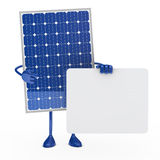 Blue solar panel figure. Hold a billboard Stock Photography