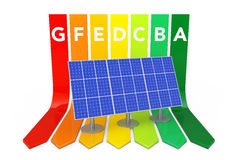 Blue Solar Panel over Energy Efficiency Rating Chart. 3d Renderi Stock Images