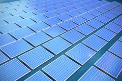 Composite image of blue solar panels. Blue solar panels against dark blue background royalty free illustration