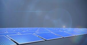 Composite image of blue solar panels. Blue solar panels against dark grey background royalty free illustration