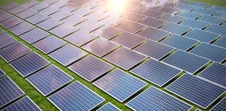 Composite image of blue solar panels. Blue solar panels against grass vector illustration