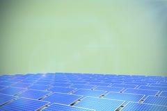 Composite image of blue solar panels. Blue solar panels against green background stock illustration