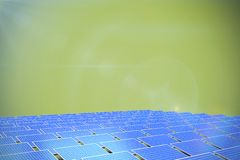 Composite image of blue solar panels. Blue solar panels against green background royalty free illustration
