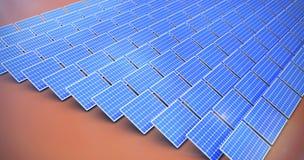 Composite image of blue solar panels. Blue solar panels against orange background royalty free illustration