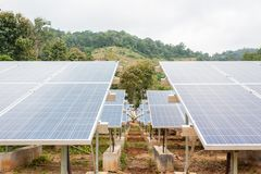 Blue solar panels stock photography