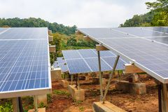 Blue solar panels stock image
