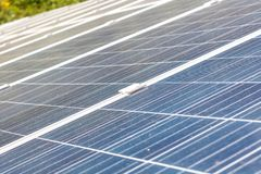 Blue solar panels royalty free stock images