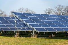 Blue solar panels photovoltaics power station with trees in background. Blue solar panels in photovoltaics power station farm with trees in background, future Stock Photo