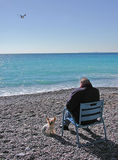 Blue solitude. An old man with his little dog on the beach in Nice Royalty Free Stock Photos