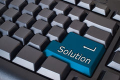 Blue solution button Stock Photo