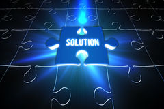 Blue solution glowing jigsaw piece on puzzle Royalty Free Stock Photo