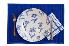 blue som äter den eleganta seten Arkivfoton