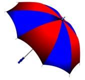 blue som viker det röda paraplyet royaltyfri illustrationer