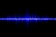 Blue sound wave background. Blue sound wave on black background Stock Photo