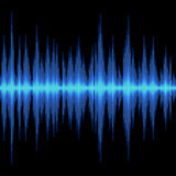 Blue Sound Wave on Black Background. Vector Stock Image