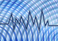 Blue Sound Wave Graph And Background. Fun funky blue teal and white sound wave and radial background Stock Photo