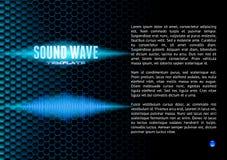 Blue sound waveform on hex grid for booklet Stock Photos