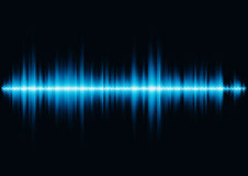 Blue sound waveform with hex grid light filter Royalty Free Stock Images