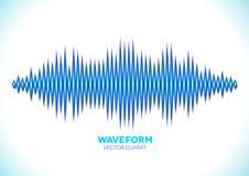 Blue sound waveform. Blue shiny sound waveform with sharp peaks Royalty Free Stock Images