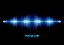 Blue sound waveform. Blue shiny sound waveform with shiny peaks Stock Image