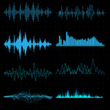 Blue sound waves. In vector vector illustration