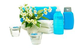 Blue spa with jasmin Royalty Free Stock Photo