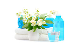 Blue spa with jasmin Stock Images