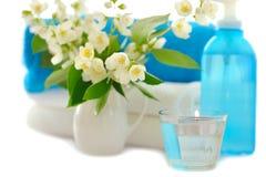 Blue spa with jasmin Stock Image