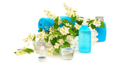 Blue spa with jasmin Royalty Free Stock Images
