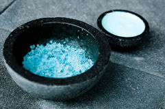 Blue Spa Salts Royalty Free Stock Photography