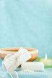Blue spa scene. Peaceful blue spa scene with copy space Royalty Free Stock Photo