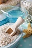 Blue spa set: liquid soap, sea salts and towels Stock Photo