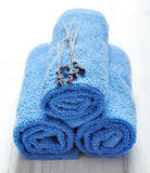 Blue spa towels pile Stock Photography